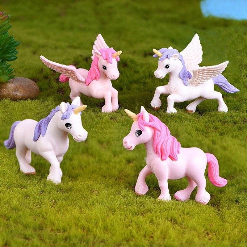 Decoración del hogar lindo unicornio miniaturas figuritas hadas jardín adornos Micro paisaje artesanal DIY decoración del hogar Accesorios
