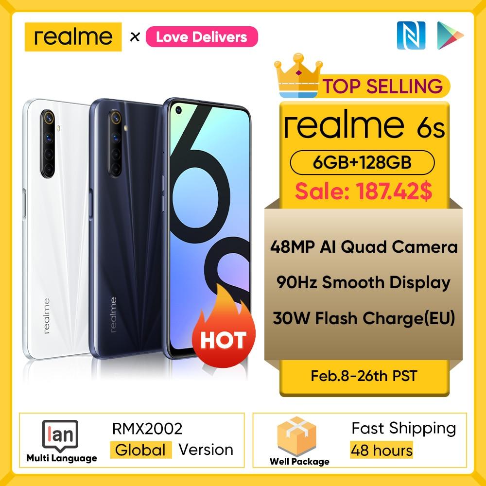 realme 6s NFC Global smartphone 90Hz 6.5'' Display 6GB 128GB mobile phone 48MP 4300mAh 30W changer T