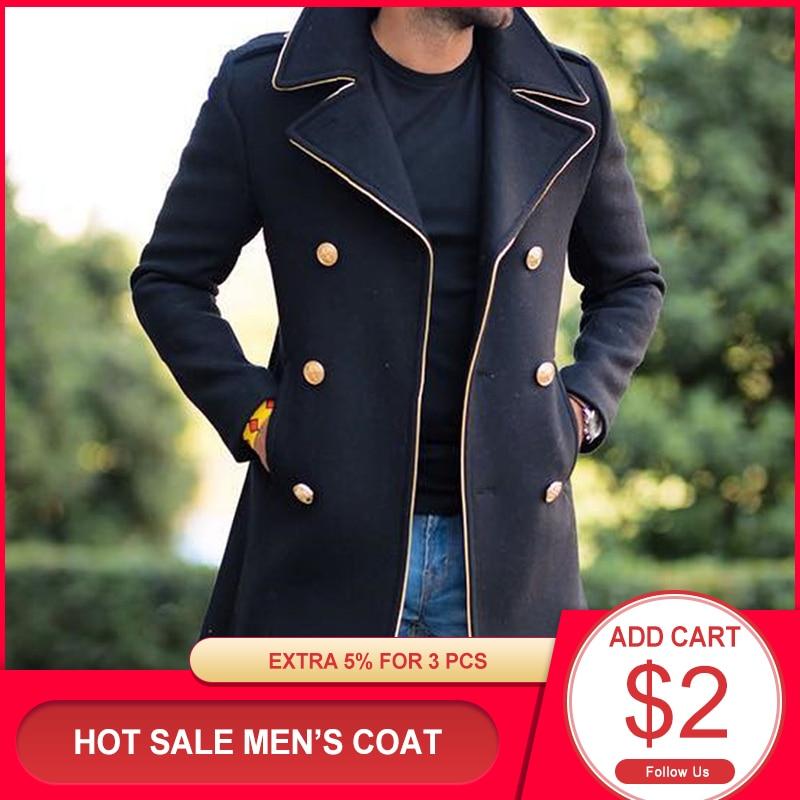 Men's Long Jackets Autumn Wool Coats Long Sleeve Button Fashion Lapel Retro Men Clothing 2020 New Bl