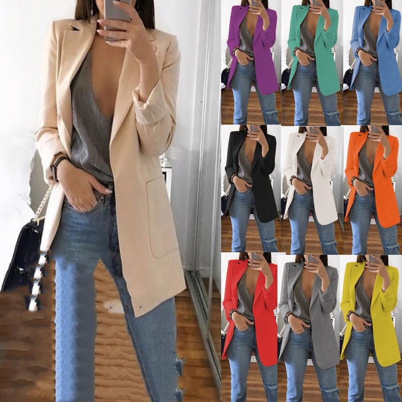 Women's Blazer jackets Spring Autumn Casual Plus Size Fashion Basic Notched Slim Solid Coats Office