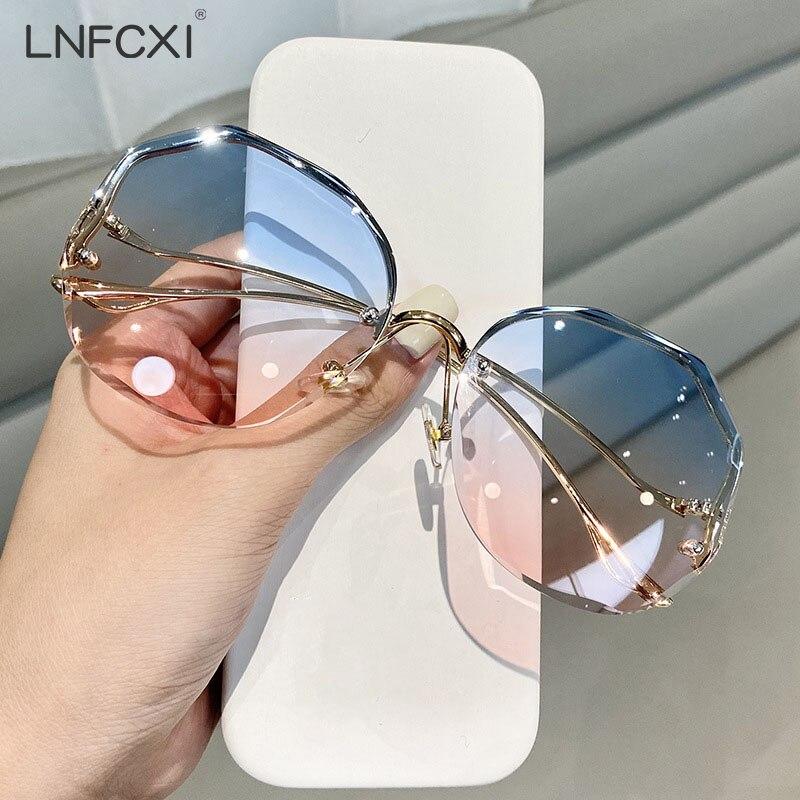 LNFCXI Rimless Sunglasses Fashion Sunglasses Women Tide Vasos Decorativos Vogue Lunette De Soleil Fe
