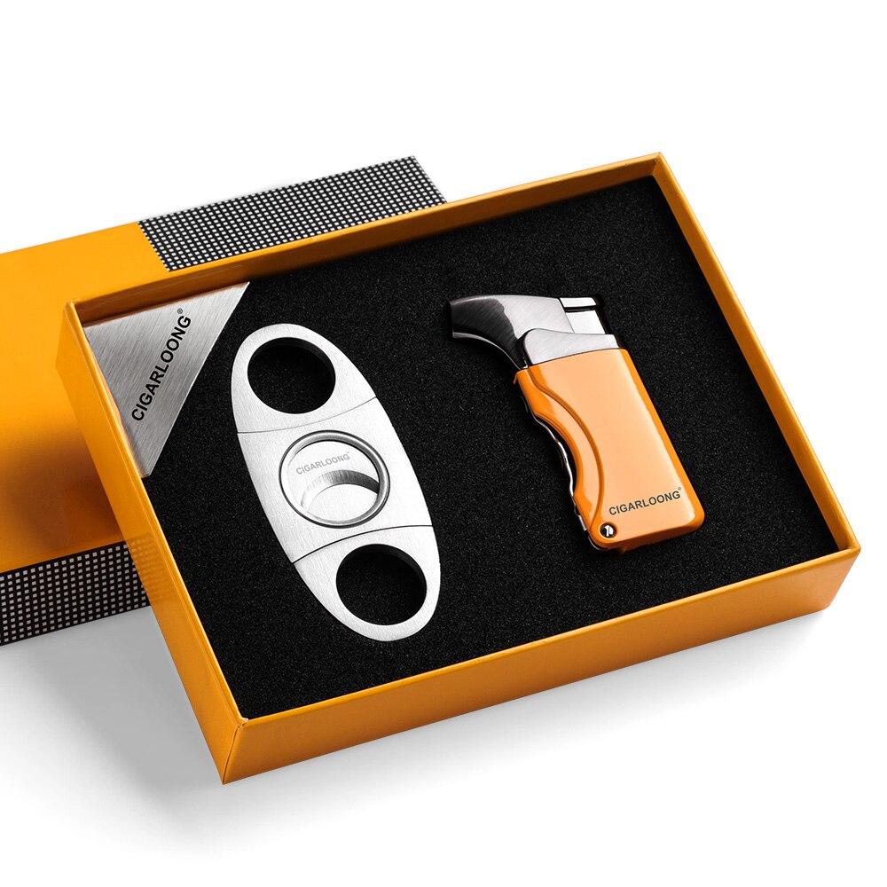 CIGARLOONG Lighters Metal Windproof Butane Gas Refillable Torch Jet Flame Cigarette Cigar Lighter Built-in Cigar Punch