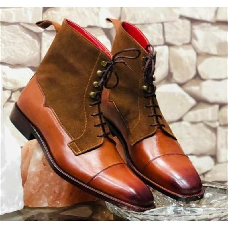2021 جديد حذاء رجالي موضة الاتجاه الكلاسيكية اليدوية البرتقال بولي Stitching خياطة براون الجلد المدبوغ الدانتيل متابعة مريحة أحذية بوت قصيرة 3KC409