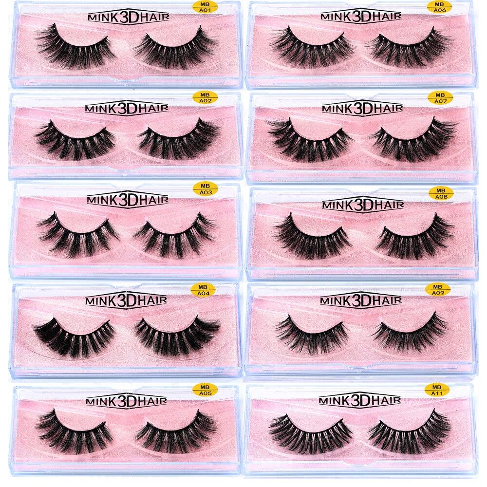 Faux 3d Mink Lashes Bulk with Custom Box Natural Wispy Short 5d Mink Lashes Strips Pack Long Fluffy Mink Lashes Vendors