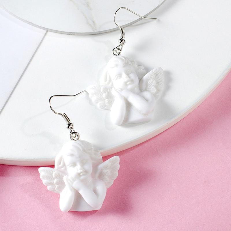 Cute Cupid Angel Pendant Drop Earring Vintage Angel Drop Earrings Punk Jewelry For Cool Women Girl Friendship Gifts