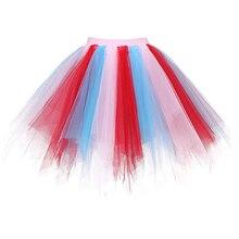 Irregular Orange Splice Mini Tulle Petticoat girl Birthday Party short Crinoline yellow pink Tutu puffy Skirt Slip underskirt