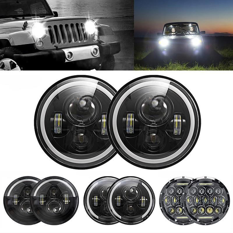 Oslamp 2 uds 7 pulgadas 60W ámbar/blanco Halo ángulo ojo Bombillas de faros LED DC 12V Led Faro de conducción luz para Land Rover Defender