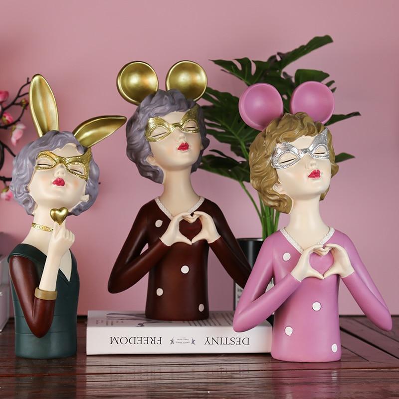 Decoração para Casa Acessórios de Fadas Bonito Arco Meninas Estátua Doce Jovem Estatuetas Resina Arte Casamento Aniversário Presente Desktop Decoração