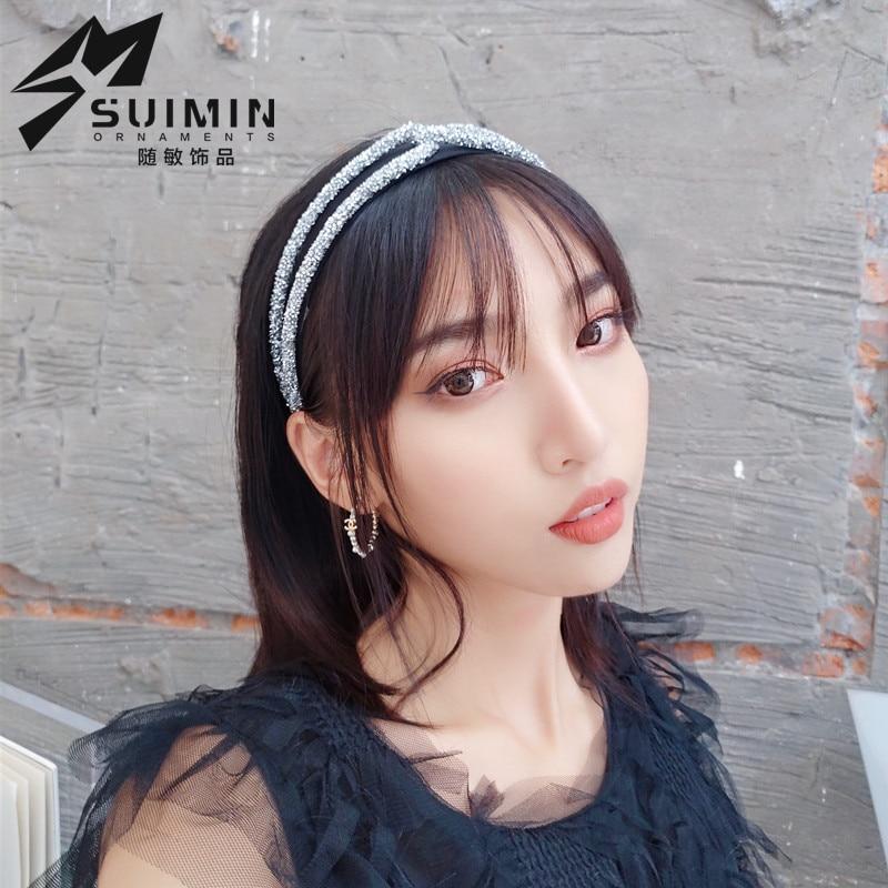 ¡Nuevo estilo de Corea del Sur! Bandas para el pelo con remaches grandes de cristal y Diamante hechas a mano sencillas y elegantes, fijador de pelo, estilo coreano brillante.