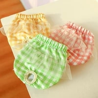 protective dog physiological pants plaid bright color printing leak proof polyester elastic pet sanitary diaper for puppy