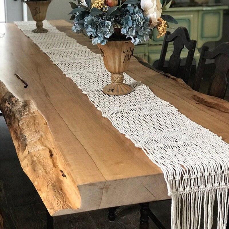 مفرش طاولة مكرميه ، منسوج يدويًا ، جميل ، ديكور طاولة الزفاف ، مصنوع يدويًا