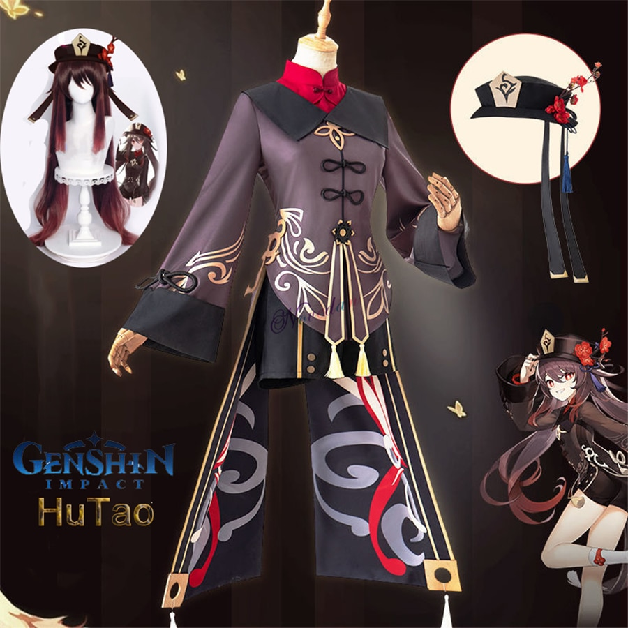 Genshin Impact Hutao Cosplay Costume Uniform Wig Cosplay Anime Game Hu Tao Chinese Style Halloween Costumes For Women