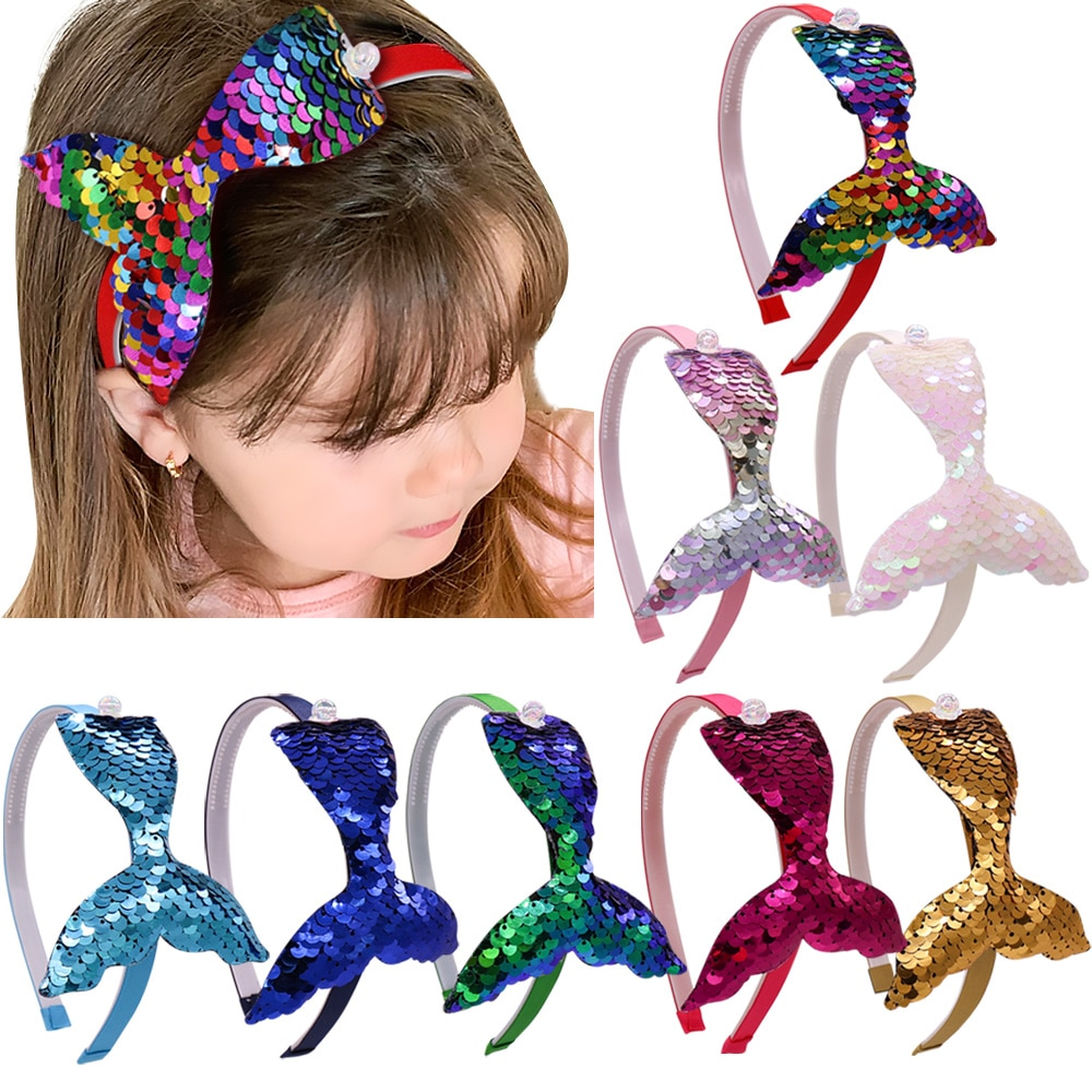 Diadema Reversible de lentejuelas para niñas, accesorios para el cabello hechos a mano, diadema de Arco Iris para niños con dientes, diadema de sirena para fiestas