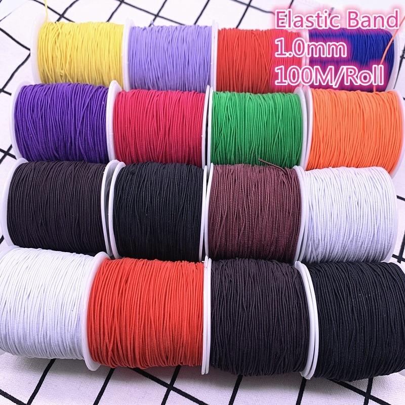 100M/1,0mm rollo de alta elástico redondo banda elástica banda de goma elástica cordón para fabricación de joyería Diy Accesorios