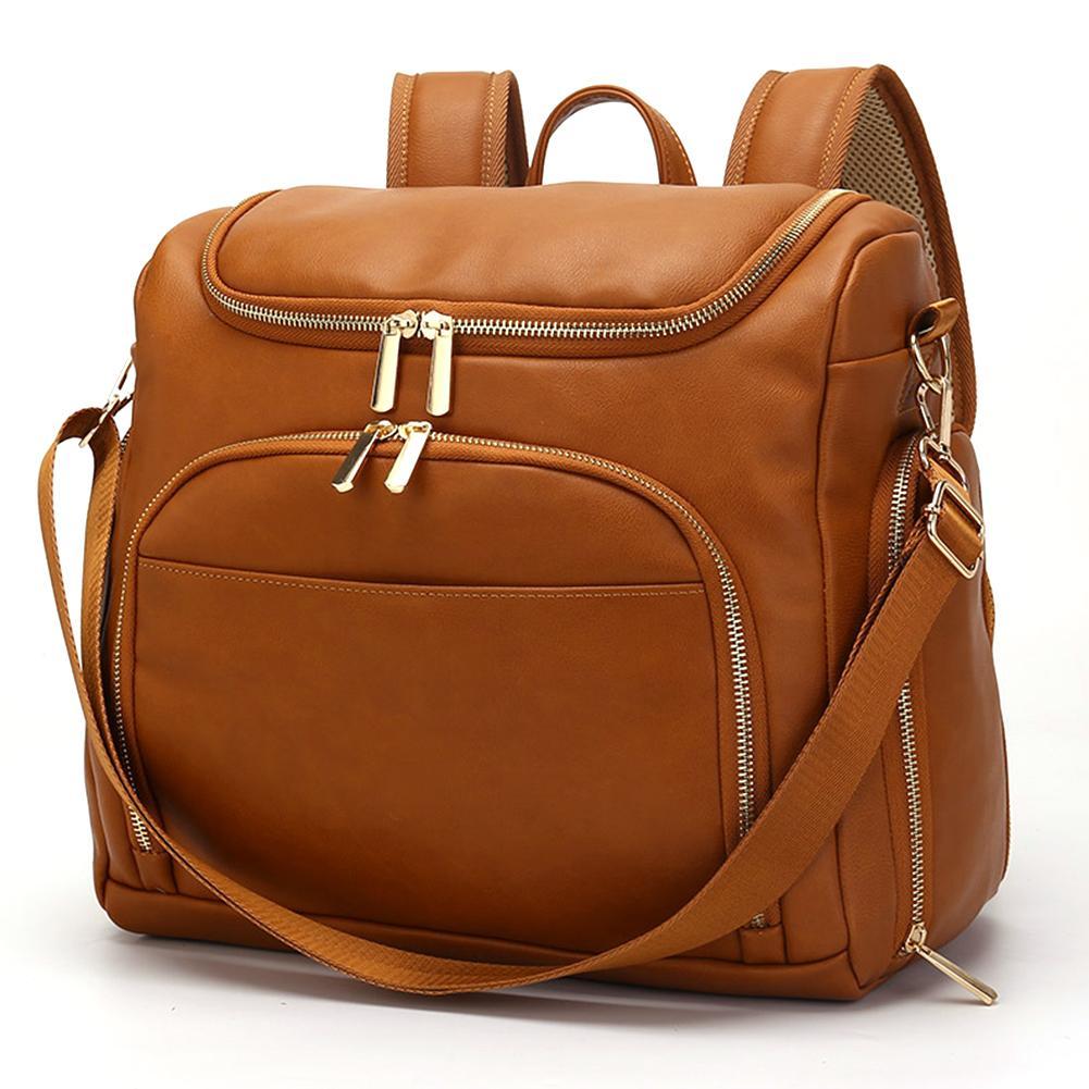حقيبة حفاضات الأمومة من جلد البولي يوريثان ، حقيبة ظهر كبيرة السعة ، حقيبة سفر للرضاعة الطبيعية ، حقيبة يد لرعاية الطفل