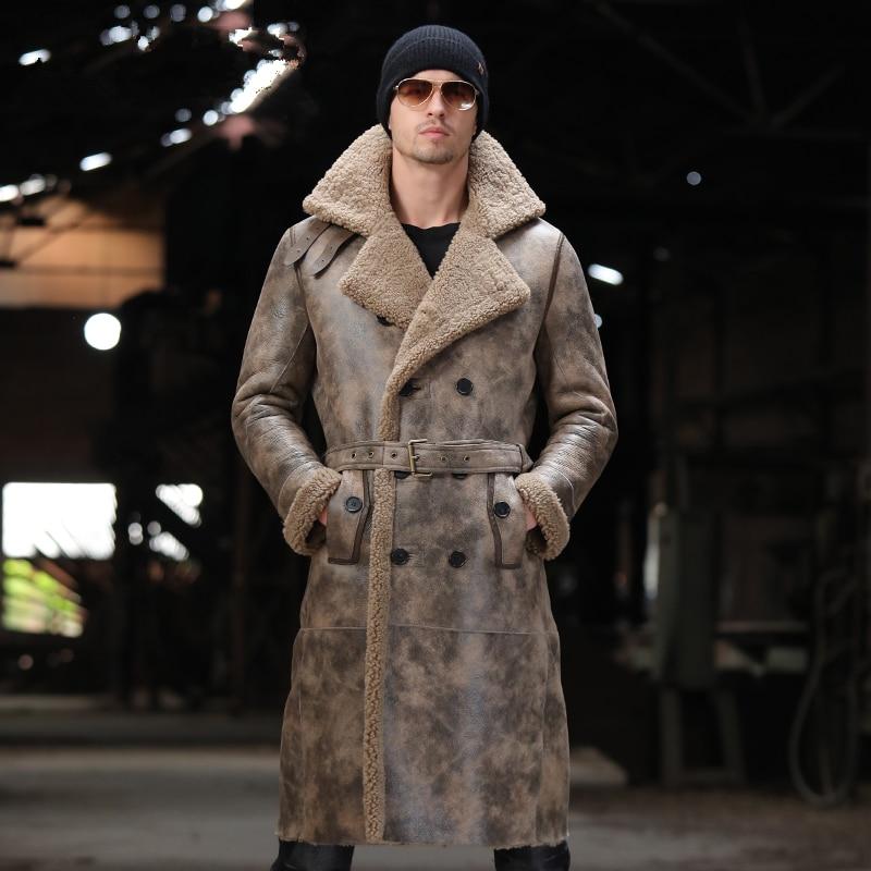 X-long-معطف جلد الغنم للرجال ، معطف شتوي من الجلد الأصلي ، مقاوم للرياح ، جاكيتات ومعاطف