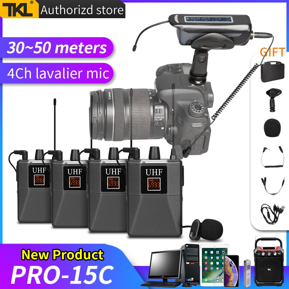 TKL PRO-15C الصوت اللاسلكي Lavalier ميكروفون نظام UHF التلبيب ميكروفون للهاتف يوتيوب SLR كاميرا فيديو مباشر مقابلة