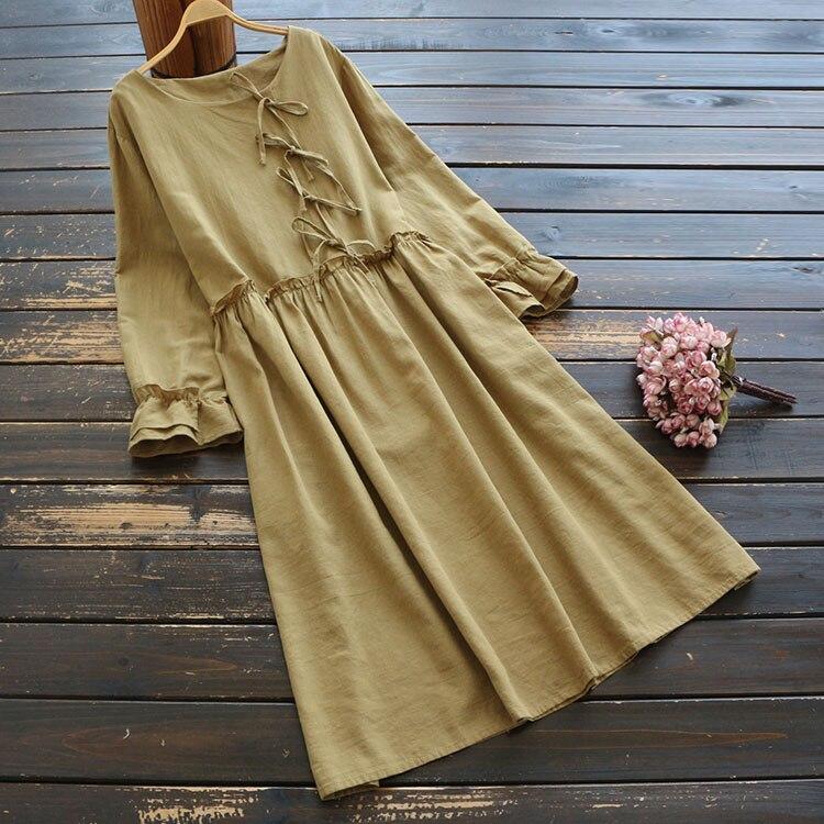 7448 New Spring Women Dress Japan Style Literary Retro Ramie Bow Casual Long Sleeve O-Neck Midi Dress Women