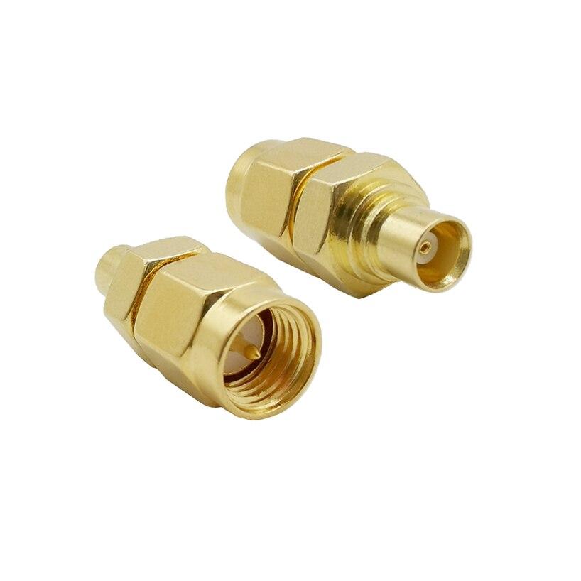 1 Uds MCX hembra a SMA macho cable Coaxial RF adaptador SMA enchufe a MCX Jack recto Latón dorado conversor cromado conector