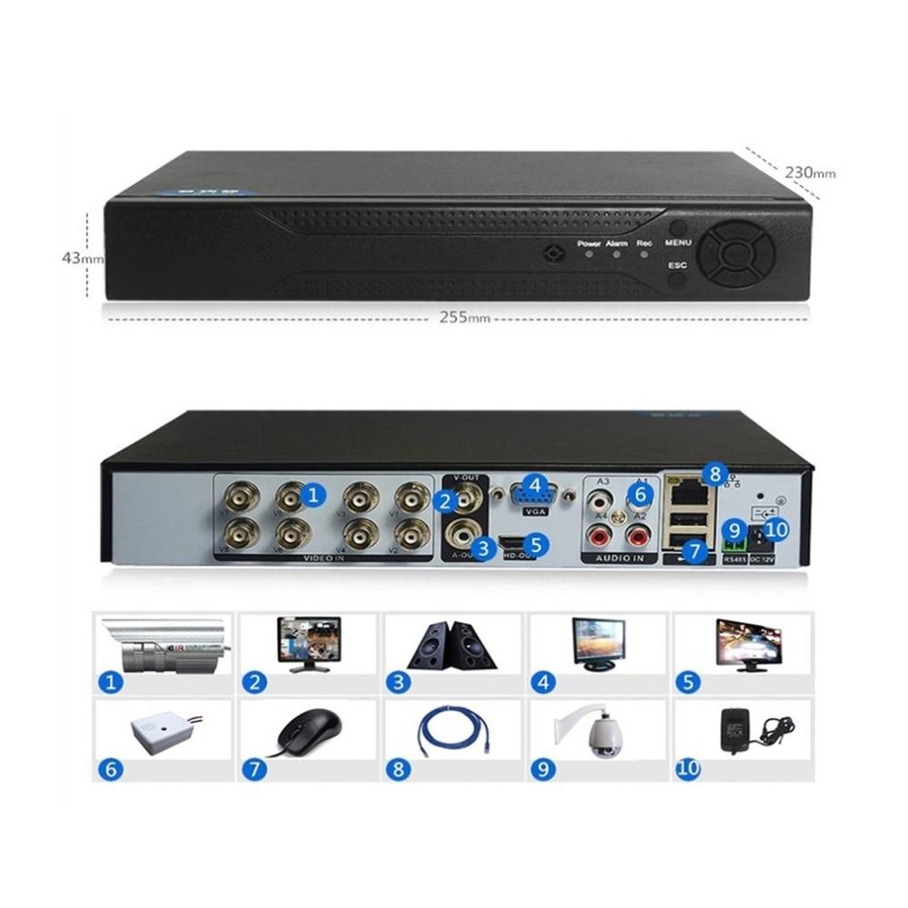 1080P 8 canales DVR H.264 Monitor de seguridad NVR 960H grabadora DVR P2P Disco Duro Video grabadora Digital analógica 1 máquina 3 usos