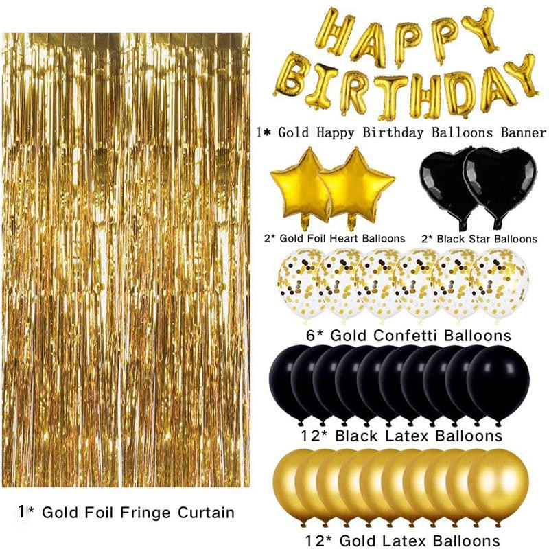 Happy Birthday Letter Balloon Set Golden Black Holiday Decoration Globos Party Prom Supplies Balloon