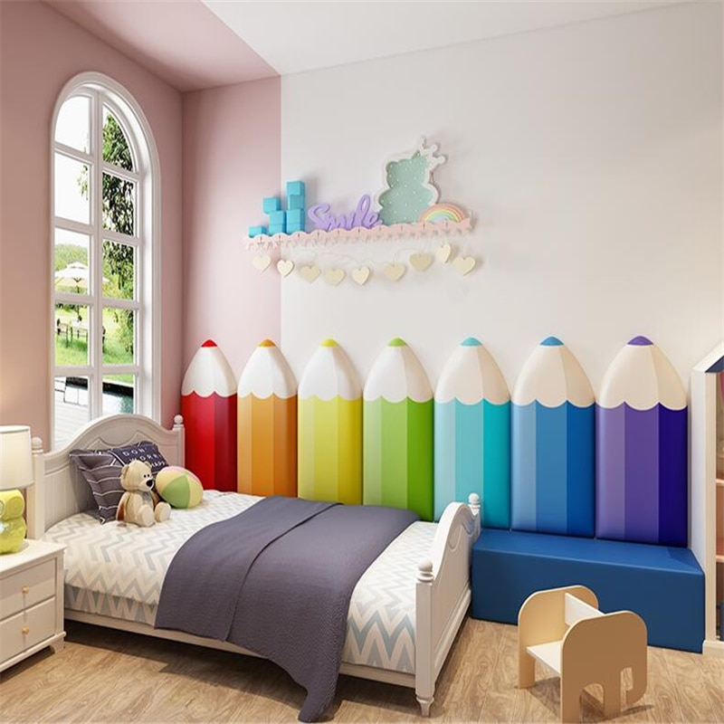 Cartoon Baby Wall Mat Wall cushion Kindergarten Pillar Anti-collision Wall Sticker Bedside Soft bag Play Room Decor