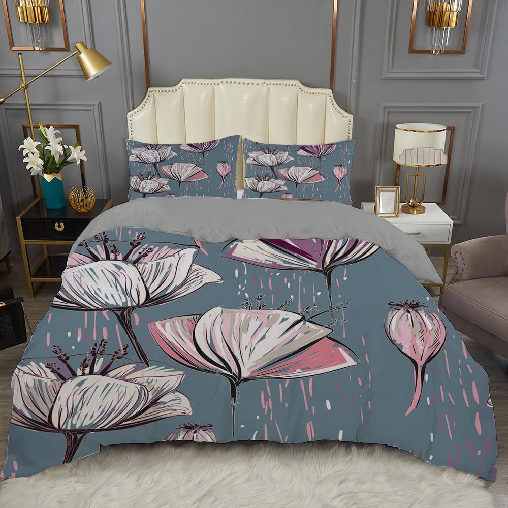 2/3 قطعة النفط اللوحة حاف مجموعة غطاء خفيفة الوزن الأزهار لحاف/المعزي غطاء ثلاثية الأبعاد طقم سرير 90 غرفة نوم واحدة المنسوجات المنزلية