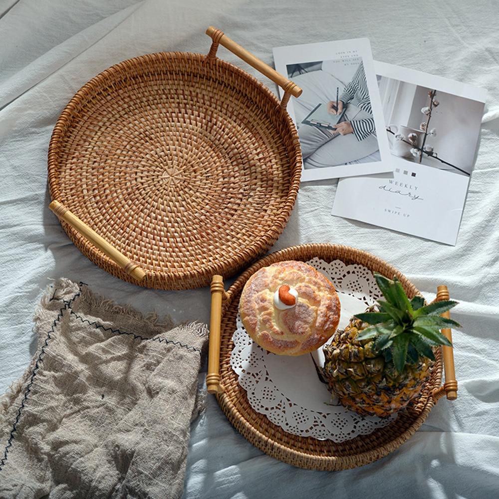 Hand-Woven Rattan Lagerung Tablett Rattan Tablett Weidenkorb Lebensmittel Lagerung Platten Platte Mit Griff Rattan Woven Ablage