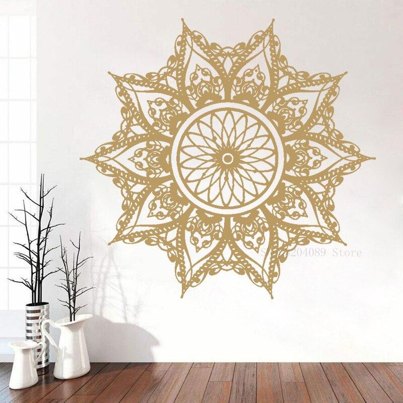 Mandala calcomanía de vinilo para pared moda Boho decoración dormitorio pegatina de Mehndi para Yoga estudio sala de estar hogar calcomanía papel pintado CN203
