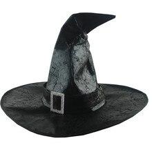 Черные Шляпы ведьмы, женская большая шляпа с рюшами, маскарадная Шляпа Волшебника, вечерние шляпы для костюмированной вечеринки на Хэллоуин, нарядное платье, Декор, драма, топ, шляпа