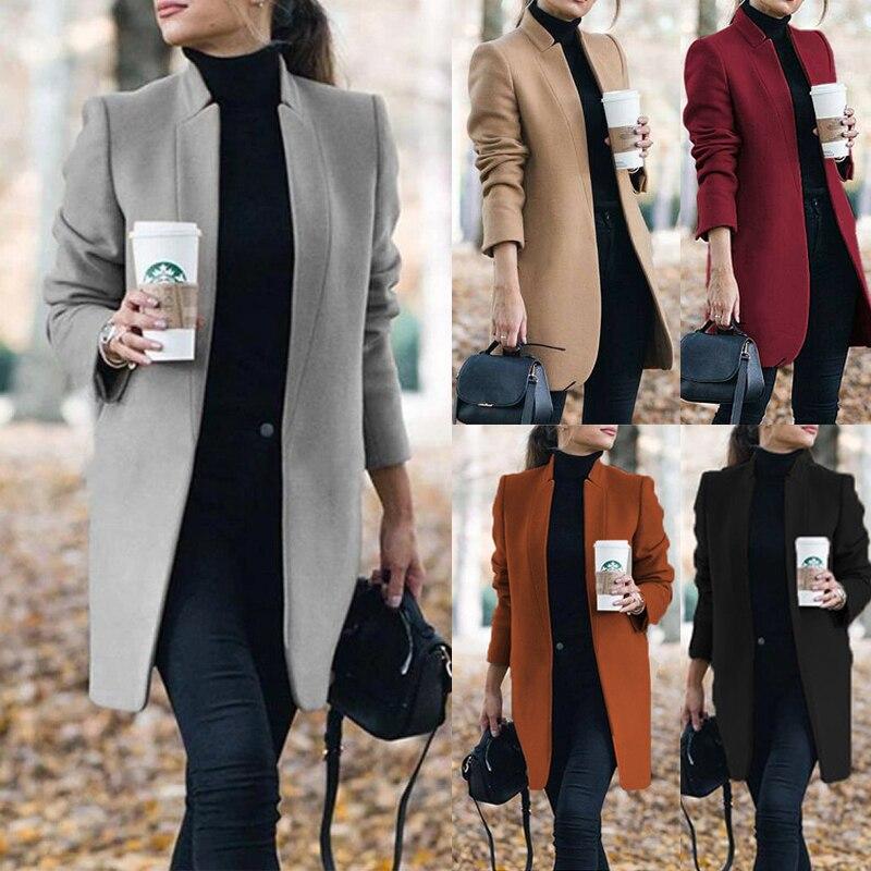 ¡Novedad de 2020! Abrigo de lana a la moda para mujer, Chaqueta larga Mandarín de manga larga de Color liso, abrigo largo informal de otoño e invierno de talla grande 5XL