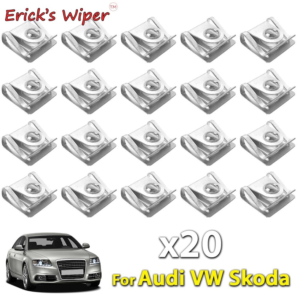 Limpiaparabrisas para motor de 20 piezas de Erick, pinzas para caja de cambios, sujetador de bandeja base, tornillo protector contra salpicaduras para carrocería de coche para Audi VW 1997 - 2005 SKODA