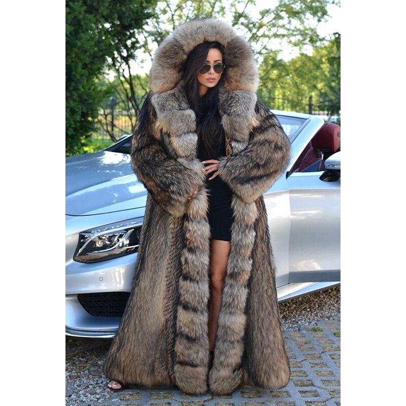 FURSARCAR الفاخرة معطف الفرو للشتاء المرأة ريال الطبيعية راكون الكلب الفراء سترة بقبعة 130 سنتيمتر X-طويل حجم كبير 2021 جديد