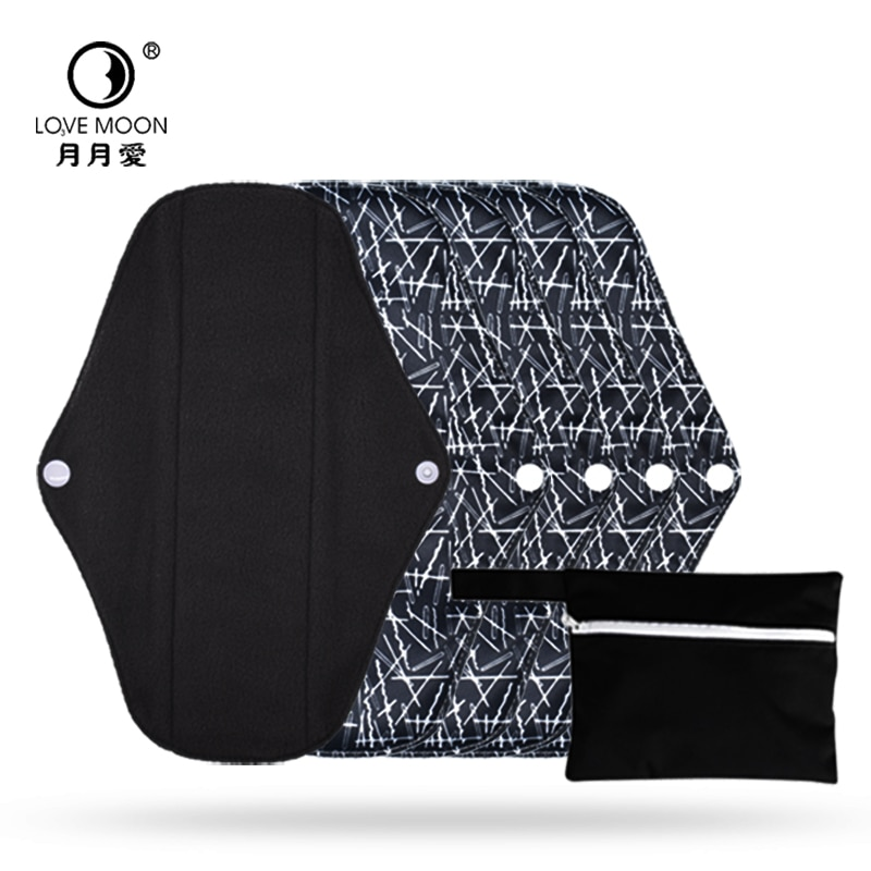 5 Pcs Beauty Health Bamboo Charcoal Menstrual Pad Menstrual Panties Gaskets Washable Pad Reusable So