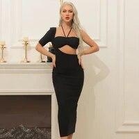 backless black cut out woman new trendybeachwear sundress midnight club one piece corset mid calf dress