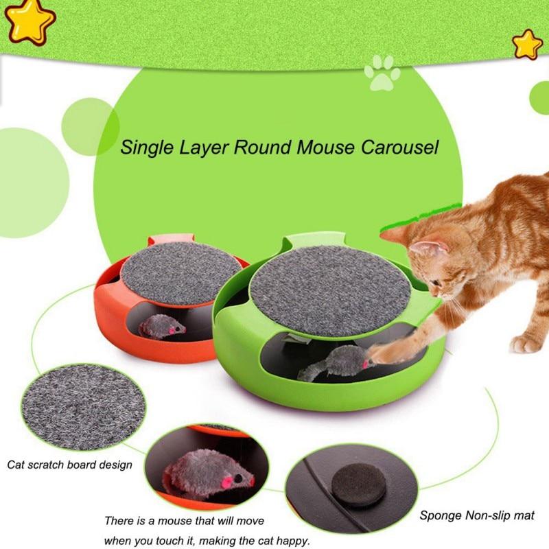 Juguete automático para gatos, juguetes de disco para bromas, juego loco para atrapar el ratón de felpa, disco giratorio para gatos, Donut, juguete automático para gatos