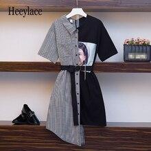 Haute qualité irrégulière patchwork robe femmes 2019 nouveau décontracté bureau dame robe Vintage avec ceinture Vestido grande taille