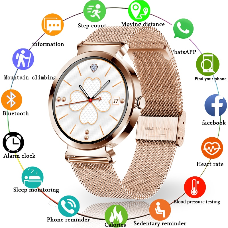 LIGE 2020 New Fashion Stainless Steel Smart Watch Women Men Electronic Sport Watch For Android iOS L