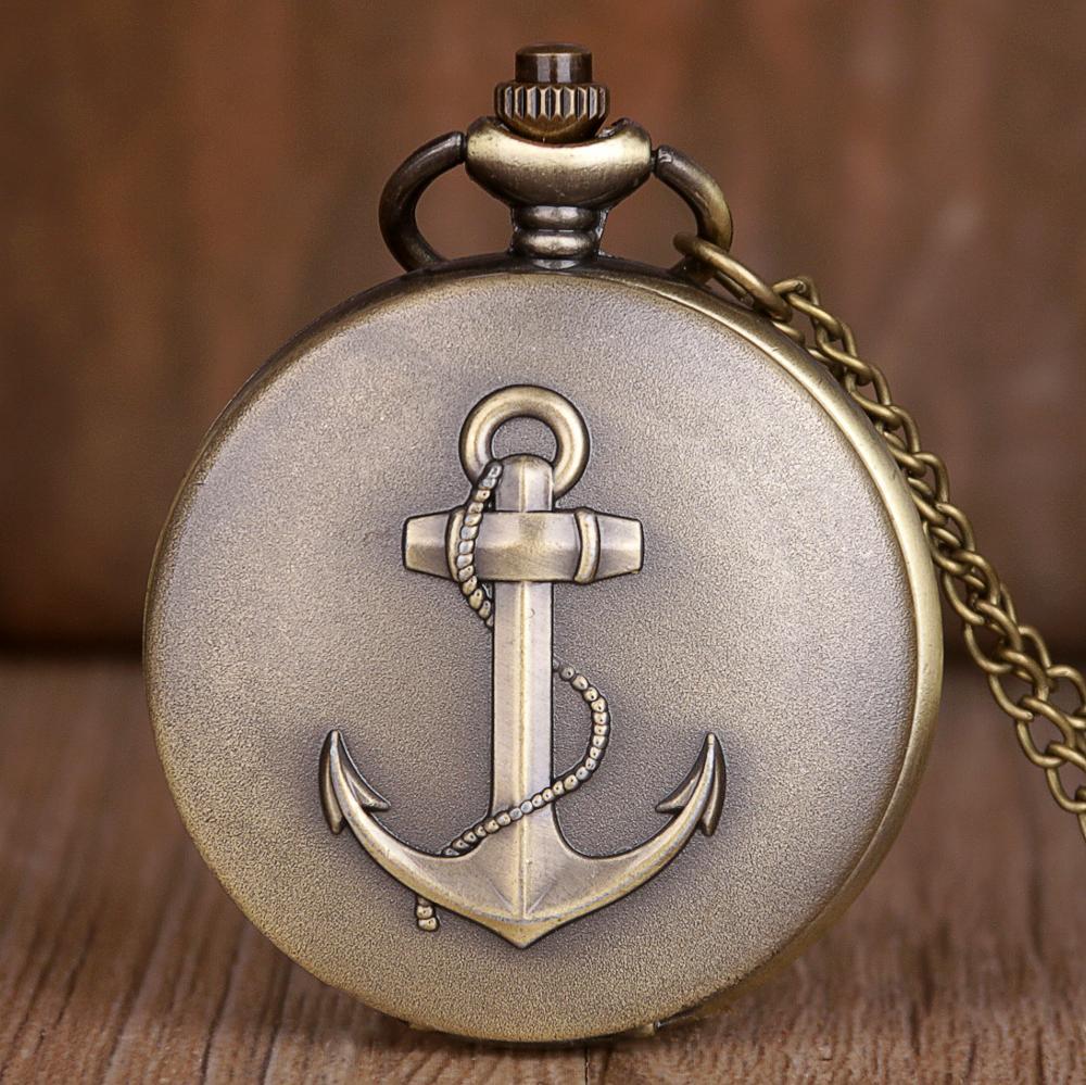 Rrtro bronce pirata ancla de cuarzo reloj de bolsillo antiguo de las mujeres de los hombres COLLAR COLGANTE reloj de regalo reloj