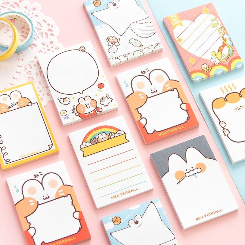 8 Uds. Cute Cat Memo Bloc de notas portátil Mini Sticky Notes adhesivo Post Marker Bloc de notas para marcapáginas cuaderno escolar de oficina A6019