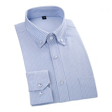 High Quality 100% Cotton Men Shirt Long Sleeved Oxford Casual Shirts Striped Brand Clothing Man Business Work Shirt DA008