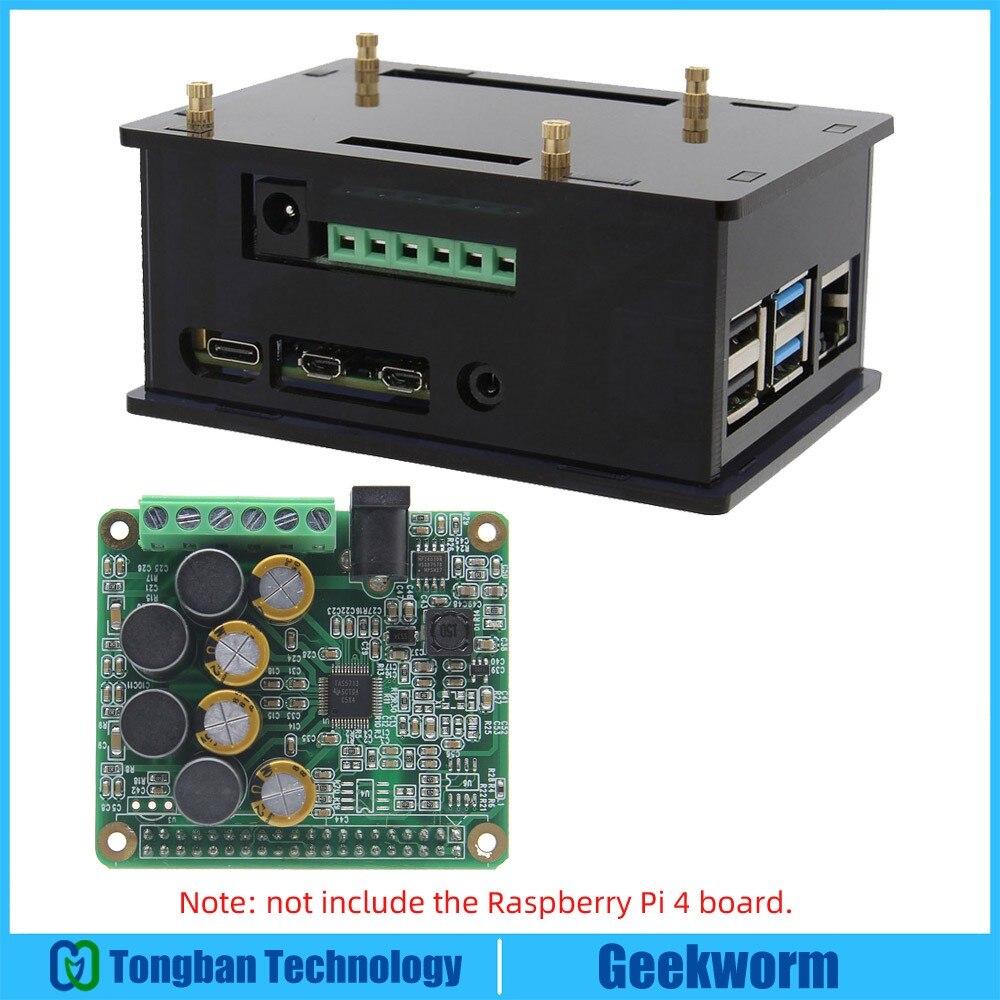 라즈베리 파이 4 앰프 hifi amp 확장 보드 오디오 카드 + 라즈베리 파이 4 모델 b 전용 아크릴 케이스