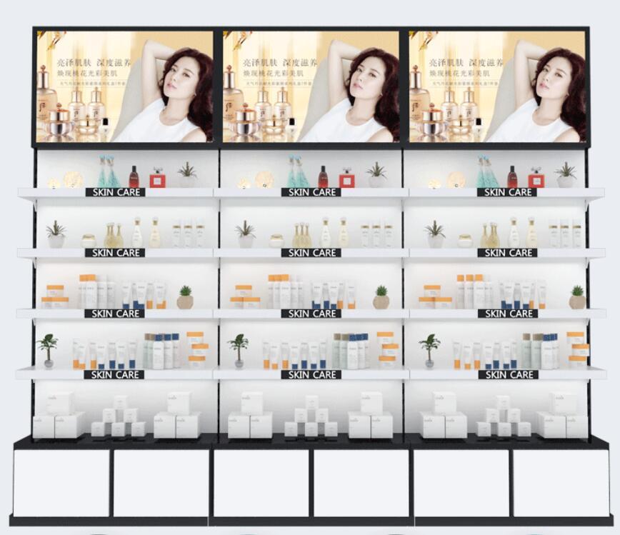 صالون تجميل المنتج الرف خزانة لعرض مستحضرات التجميل خزانة عرض السلع الرف