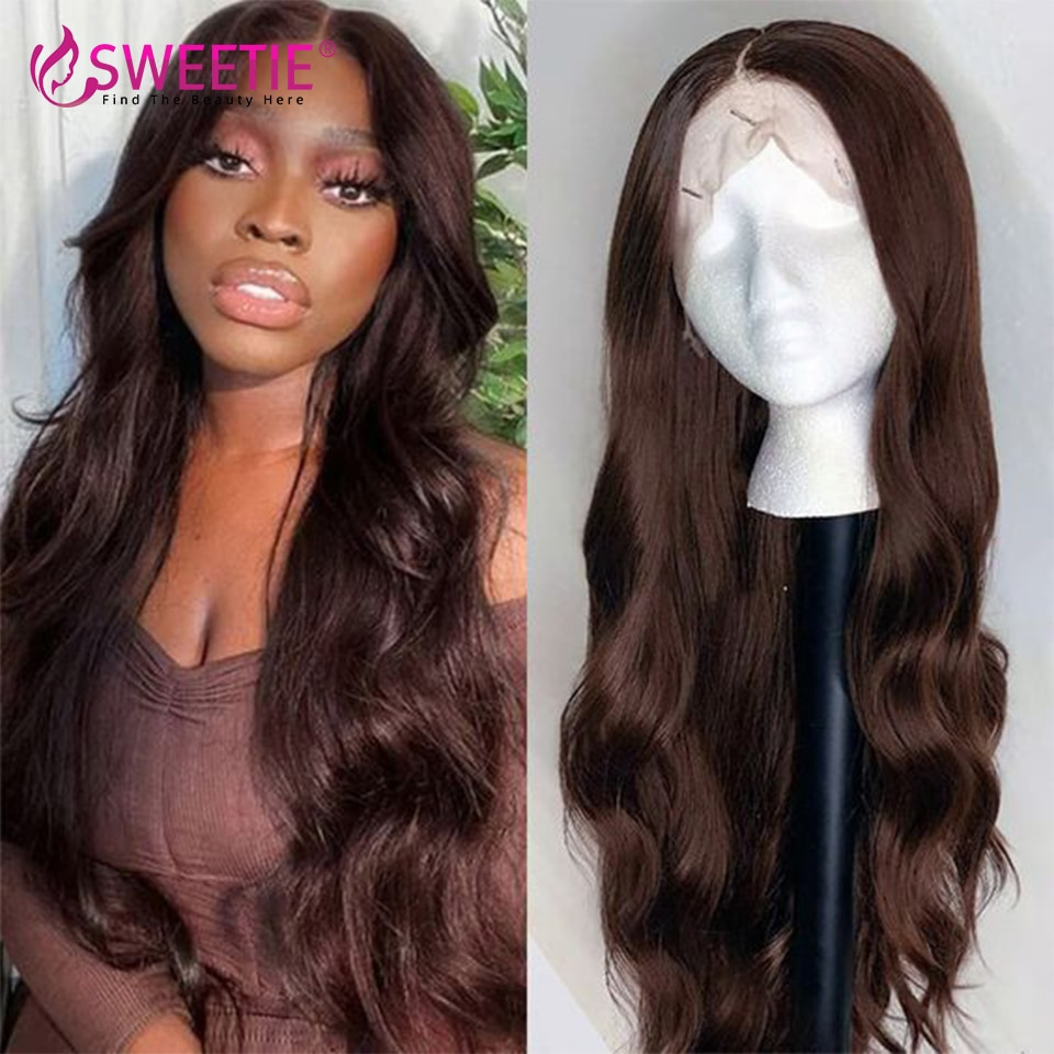 Chocolate Brown Body Wave 13x1 T Part Wig 13x4 Lace Front Human Hair Wigs 4x4 Lace Closure Brazilian Wig For Women Pre Plucked