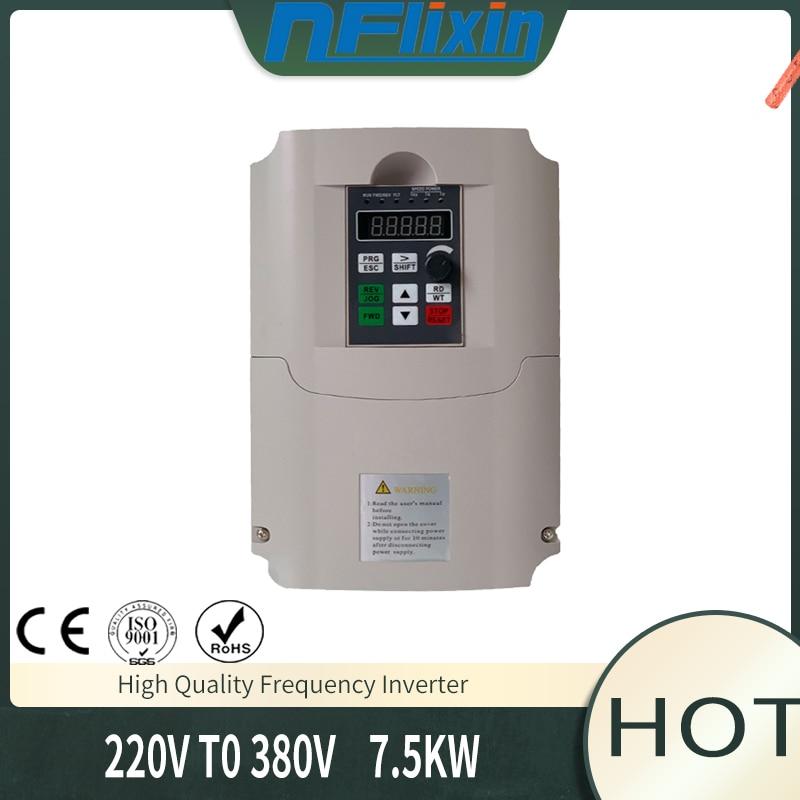 Convertidor de frecuencia variable 50Hz/60Hz inversor de motor VFD 7.5kw monofásico 220v entrada trifásica 380 salida