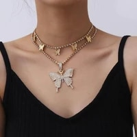 womens crystal rhinestone pendant necklace shiny personality sexy butterfly tennis chain necklace jewelry gift