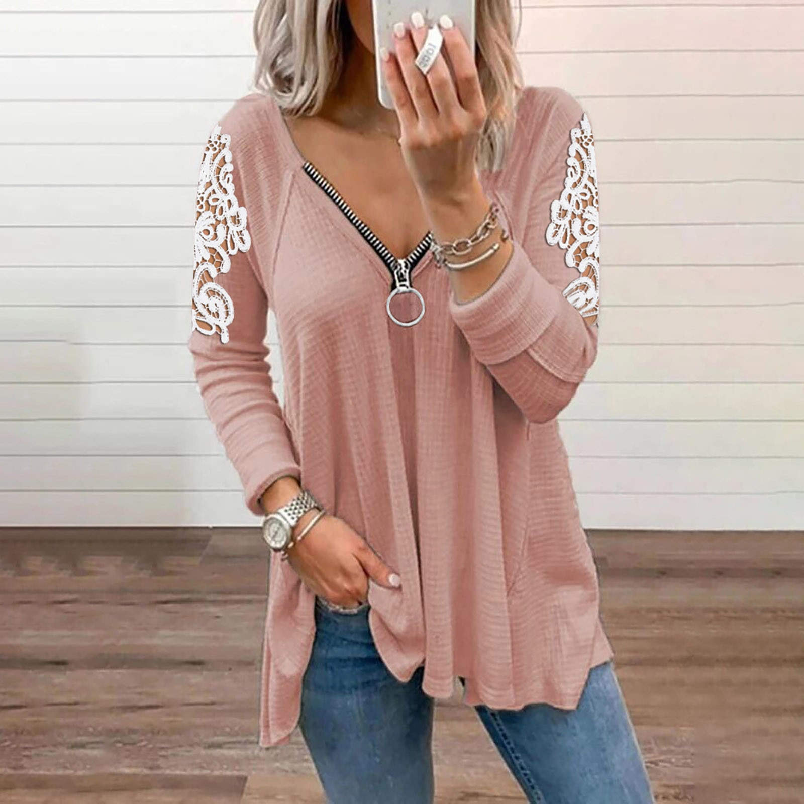 long sleeve scrawl printed v neck tee V-neck Lace Sleeve Loose Solid Color Casual Female Tee Shirts Top Ladies Long Sleeve Blouse Top Sexy Zipper