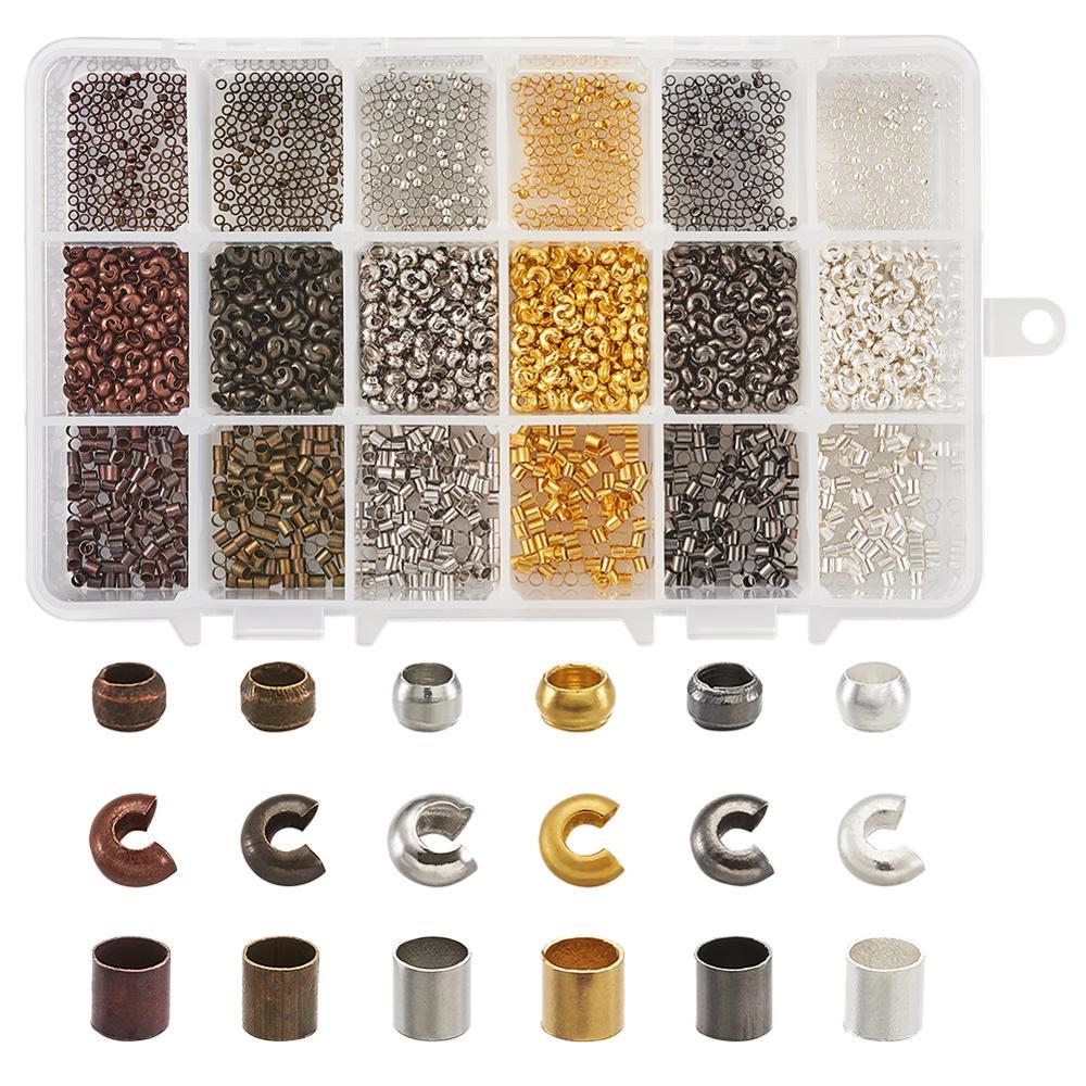 1 caja 2,5x2,5mm cuentas de engarzado de latón de colores mixtos formas mezcladas para hacer joyas Diy suministros de hallazgos, agujero 2mm