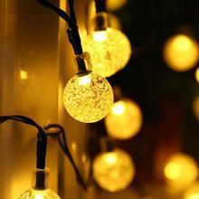 Led Solar Light Warm Wit Bubble Crystal Ball Light String Kerstverlichting Solar Slingers Tuin Kerst Decor Solar Lamp