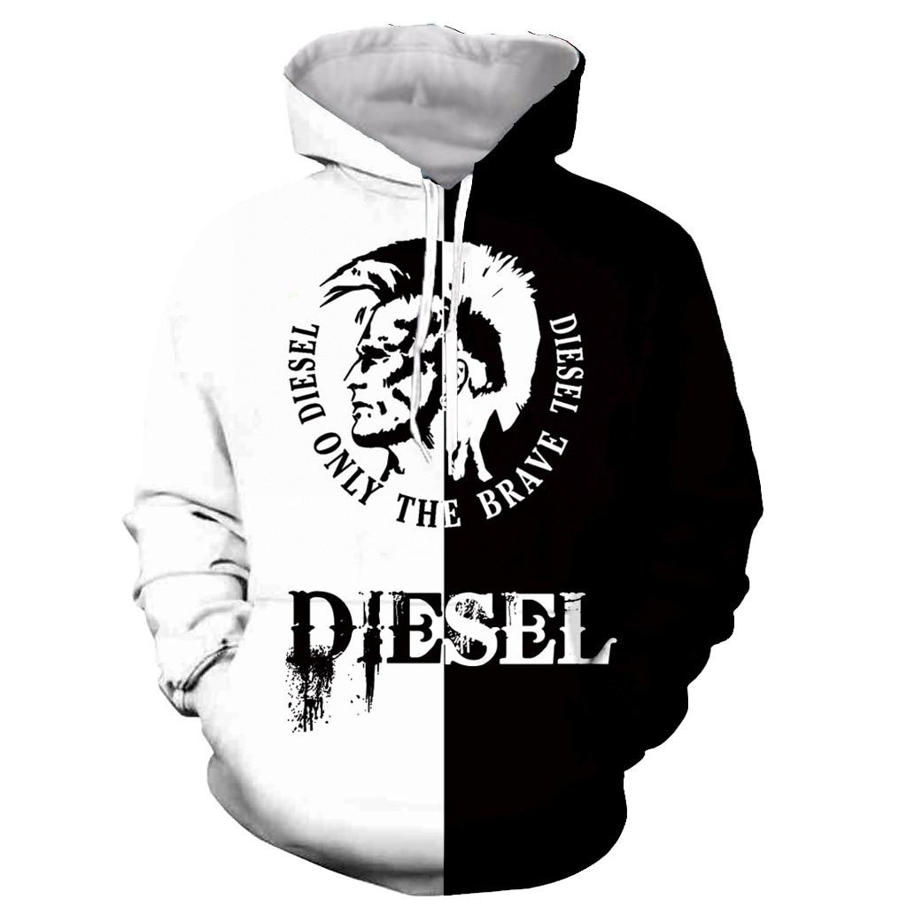 Новая модная забавная Толстовка Diesel с длинным рукавом и 3D принтом на молнии/толстовки/кофты/куртки/мужские/женские
